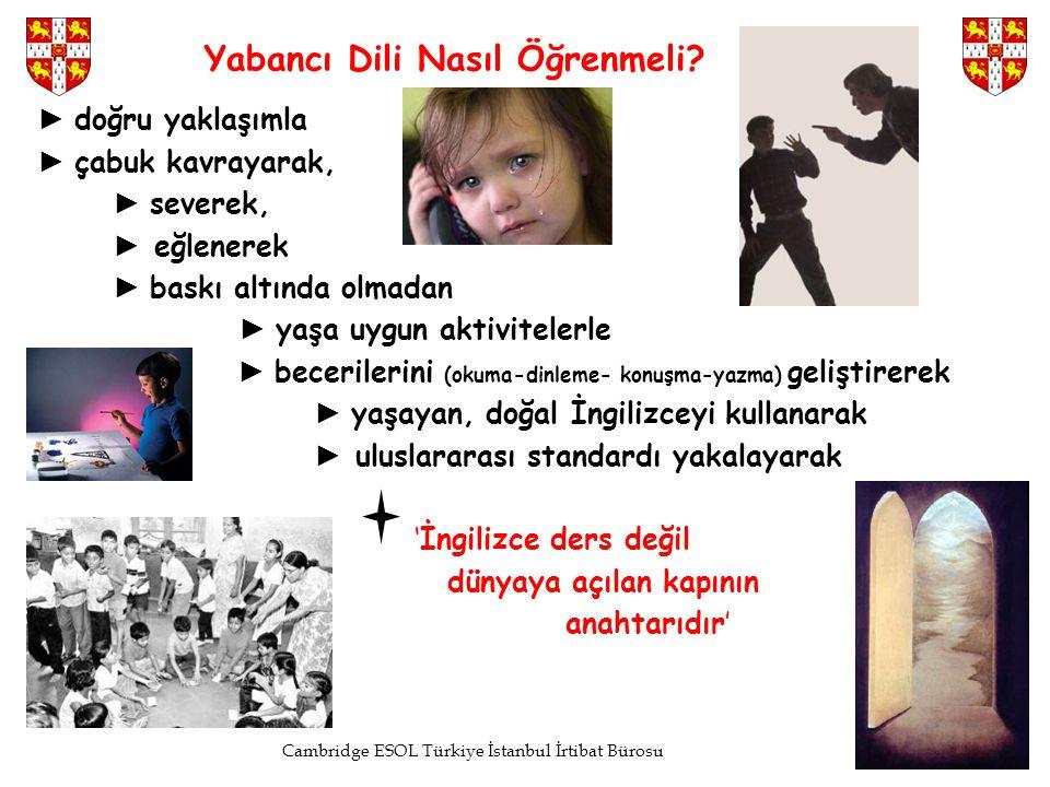 Cambridge ESOL Türkiye İstanbul İrtibat Bürosu Yabancı Dili Nasıl Öğrenmeli? ► doğru yaklaşımla ► çabuk kavrayarak, ► severek, ► eğlenerek ► baskı alt