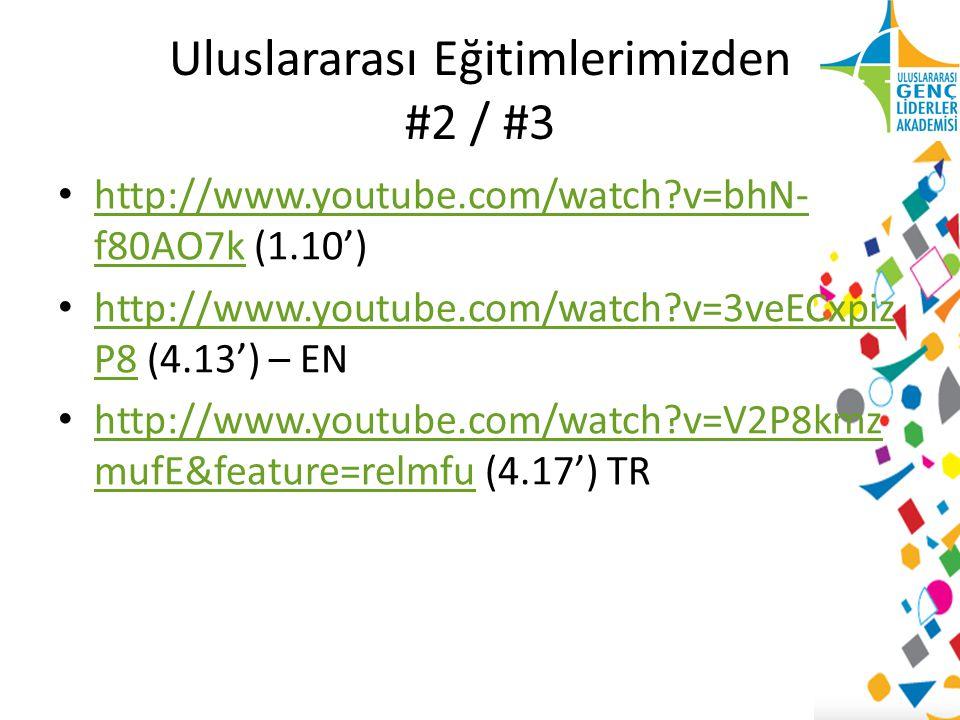 Uluslararası Eğitimlerimizden #2 / #3 http://www.youtube.com/watch?v=bhN- f80AO7k (1.10') http://www.youtube.com/watch?v=bhN- f80AO7k http://www.youtube.com/watch?v=3veECxpiz P8 (4.13') – EN http://www.youtube.com/watch?v=3veECxpiz P8 http://www.youtube.com/watch?v=V2P8kmz mufE&feature=relmfu (4.17') TR http://www.youtube.com/watch?v=V2P8kmz mufE&feature=relmfu