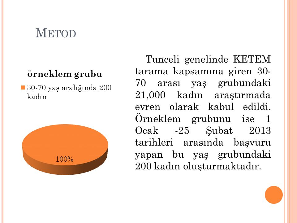 M ETOD Tunceli genelinde KETEM tarama kapsamına giren 30- 70 arası yaş grubundaki 21,000 kadın araştırmada evren olarak kabul edildi. Örneklem grubunu