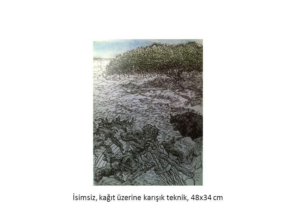 İsimsiz, kağıt üzerine karışık teknik, 48x34 cm