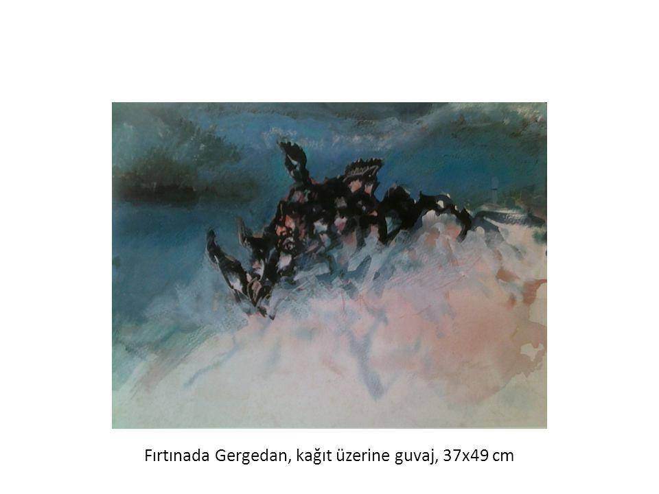 Fırtınada Gergedan, kağıt üzerine guvaj, 37x49 cm