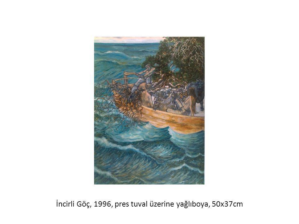 İncirli Göç, 1996, pres tuval üzerine yağlıboya, 50x37cm