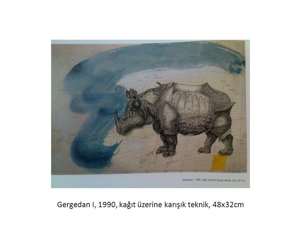 Gergedan I, 1990, kağıt üzerine karışık teknik, 48x32cm