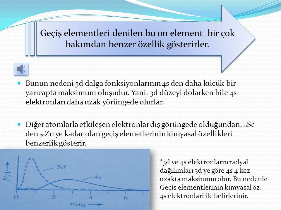 Geçiş elementleri 19 K'dan sonra gelen Kalsiyumda ( 20 Ca) 4s düzeyi doludur. Skandiyumdan ( 21 Sc) itibaren 3d düzeyi dolmaya başlar. D düzeyi 10 ele