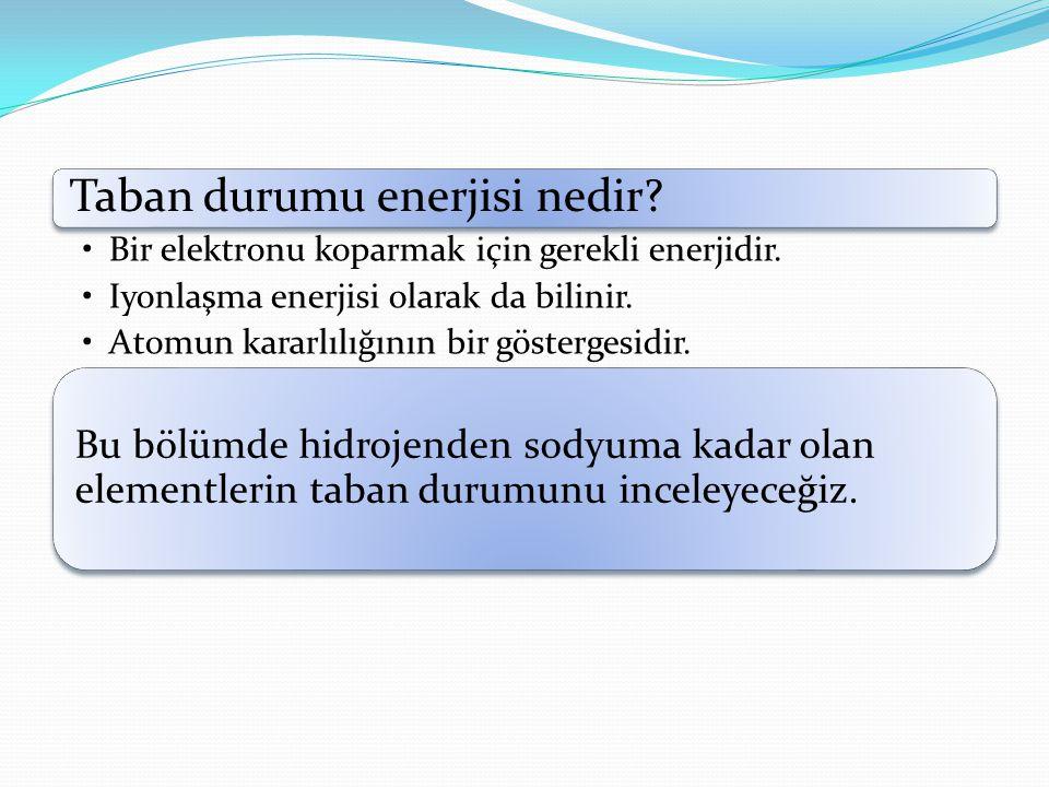 Taban durumu enerjisi nedir.Bir elektronu koparmak için gerekli enerjidir.