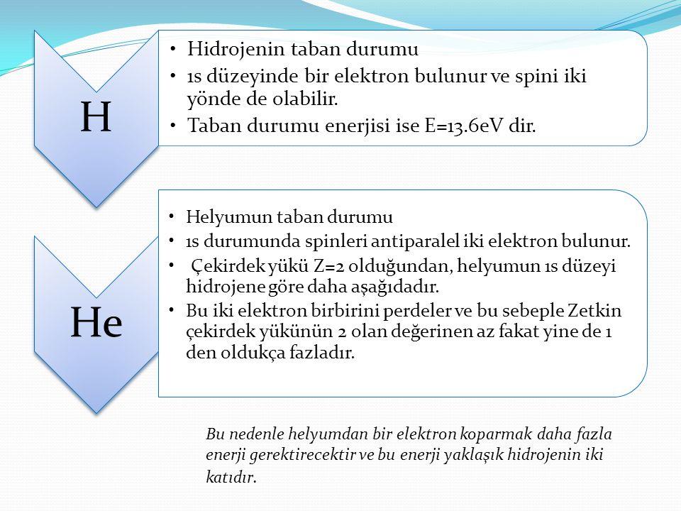 H Hidrojenin taban durumu 1s düzeyinde bir elektron bulunur ve spini iki yönde de olabilir.