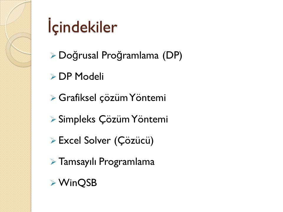 İ çindekiler  Do ğ rusal Pro ğ ramlama (DP)  DP Modeli  Grafiksel çözüm Yöntemi  Simpleks Çözüm Yöntemi  Excel Solver (Çözücü)  Tamsayılı Progra