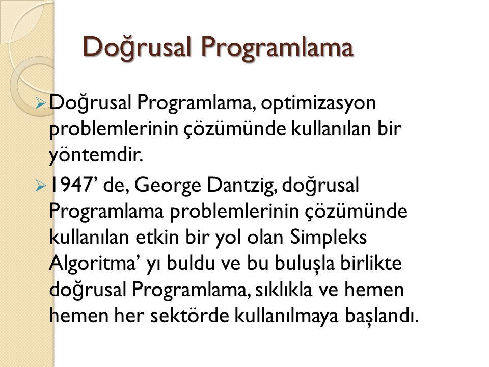 Do ğ rusal Programlama  Do ğ rusal Programlama, optimizasyon problemlerinin çözümünde kullanılan bir yöntemdir.  1947' de, George Dantzig, do ğ rusa