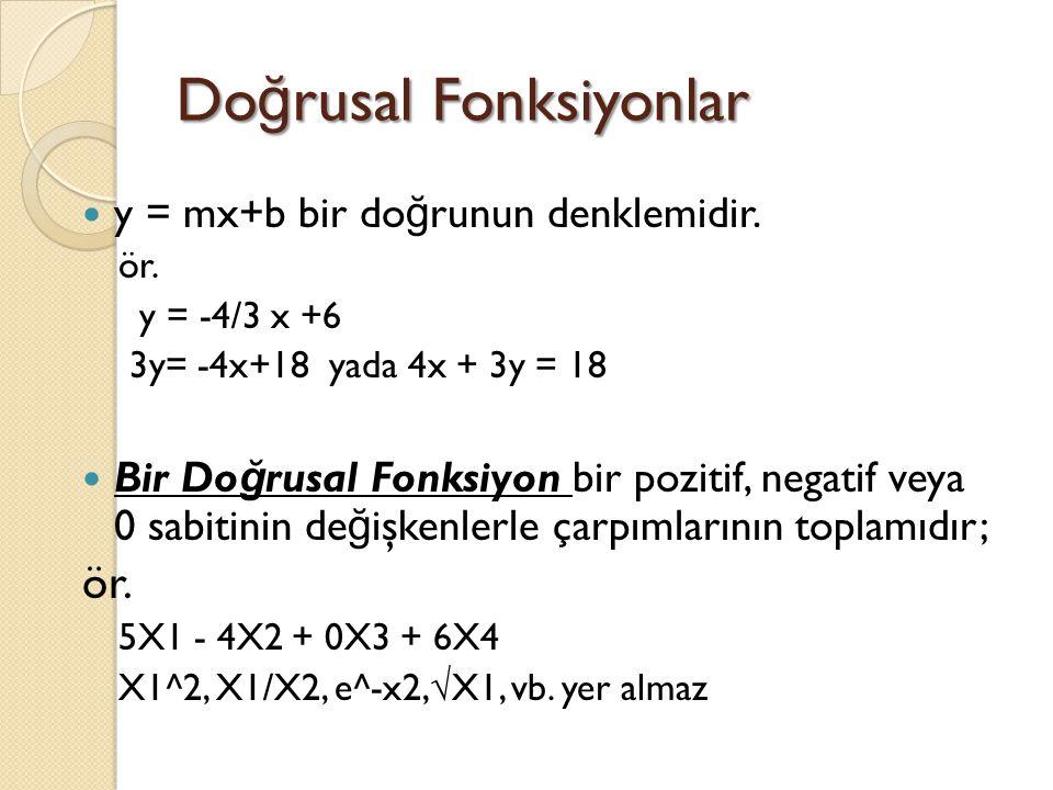 Do ğ rusal Fonksiyonlar y = mx+b bir do ğ runun denklemidir. ör. y = -4/3 x +6 3y= -4x+18 yada 4x + 3y = 18 Bir Do ğ rusal Fonksiyon bir pozitif, nega