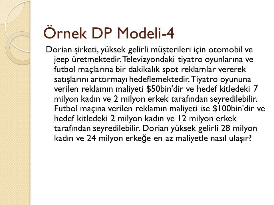 Örnek DP Modeli-4 Dorian şirketi, yüksek gelirli müşterileri için otomobil ve jeep üretmektedir. Televizyondaki tiyatro oyunlarına ve futbol maçlarına
