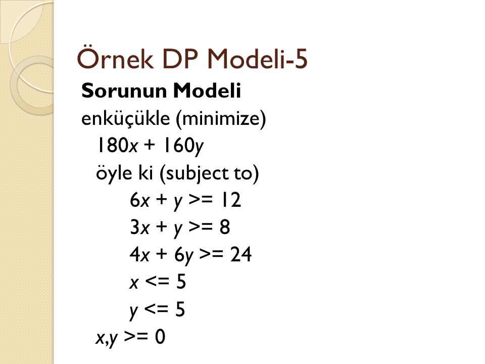 Örnek DP Modeli-5 Sorunun Modeli enküçükle (minimize) 180x + 160y öyle ki (subject to) 6x + y >= 12 3x + y >= 8 4x + 6y >= 24 x <= 5 y <= 5 x,y >= 0
