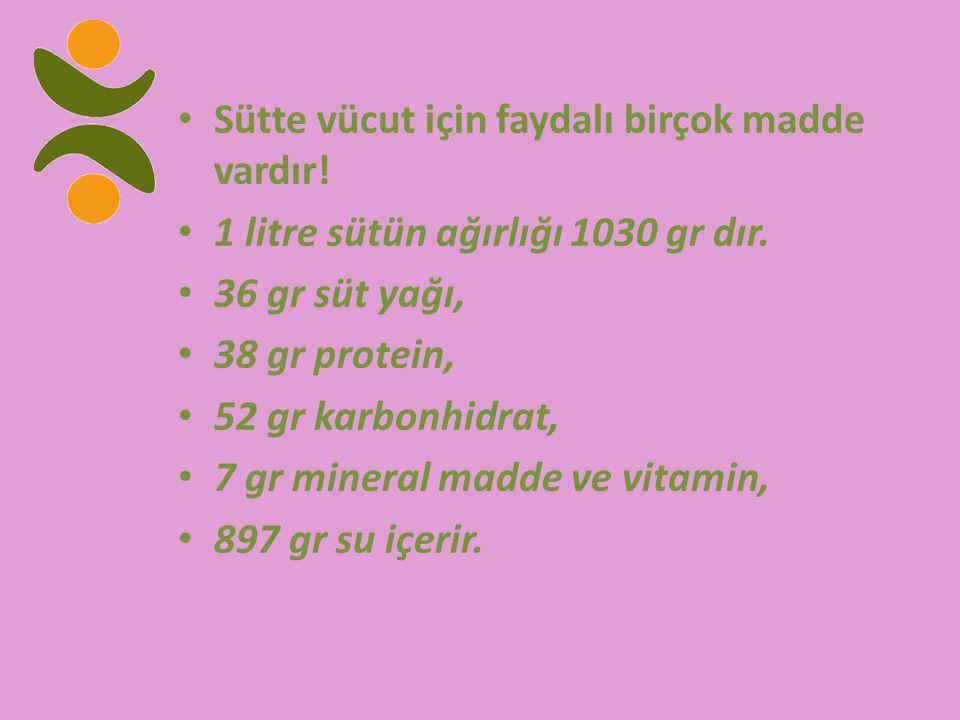 Sütte vücut için faydalı birçok madde vardır! 1 litre sütün ağırlığı 1030 gr dır. 36 gr süt yağı, 38 gr protein, 52 gr karbonhidrat, 7 gr mineral madd