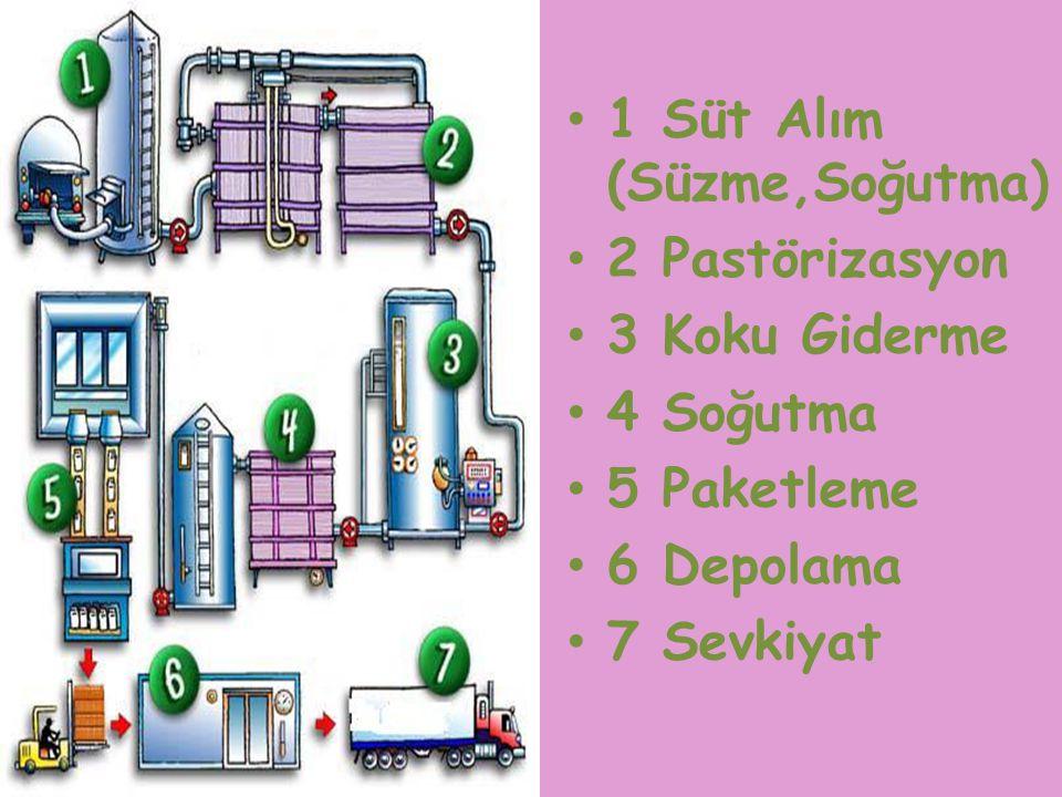 1 Süt Alım (Süzme,Soğutma) 2 Pastörizasyon 3 Koku Giderme 4 Soğutma 5 Paketleme 6 Depolama 7 Sevkiyat