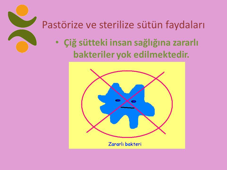 Pastörize ve sterilize sütün faydaları Çiğ sütteki insan sağlığına zararlı bakteriler yok edilmektedir.
