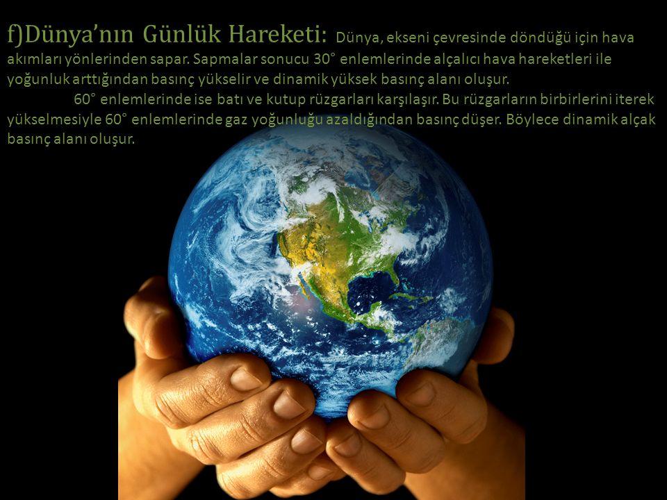 f)Dünya'nın Günlük Hareketi: Dünya, ekseni çevresinde döndüğü için hava akımları yönlerinden sapar. Sapmalar sonucu 30° enlemlerinde alçalıcı hava har