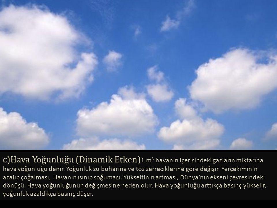 c)Hava Yoğunluğu (Dinamik Etken) 1 m 3 havanın içerisindeki gazların miktarına hava yoğunluğu denir. Yoğunluk su buharına ve toz zerreciklerine göre d