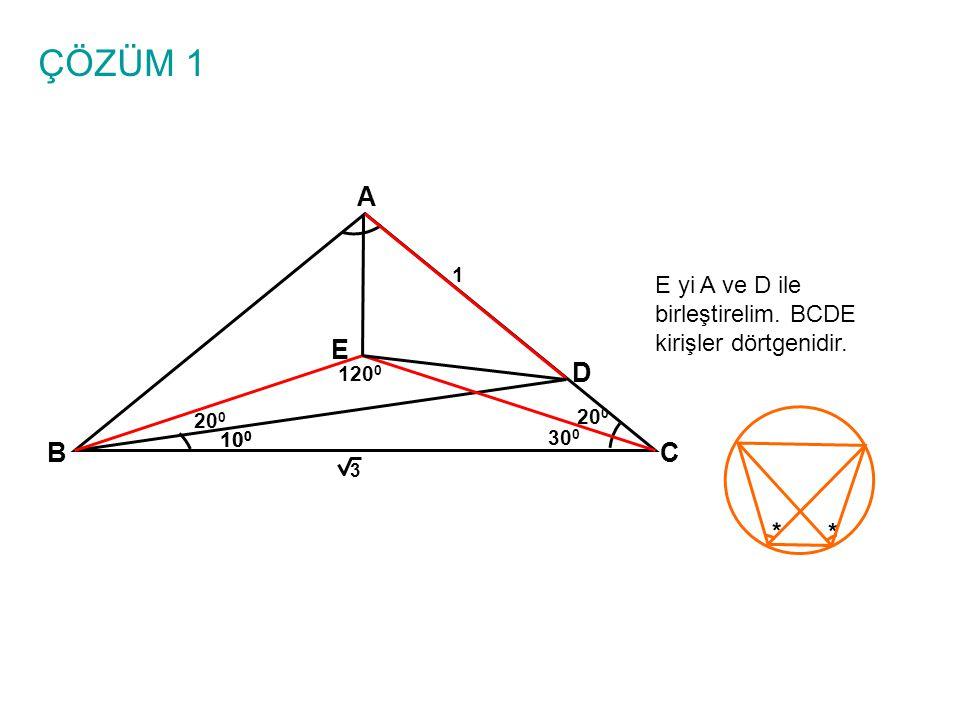 ÇÖZÜM 1 A BC 10 0 1 3 D E E yi A ve D ile birleştirelim. BCDE kirişler dörtgenidir. 10 0 20 0 30 0 20 0 * * 120 0