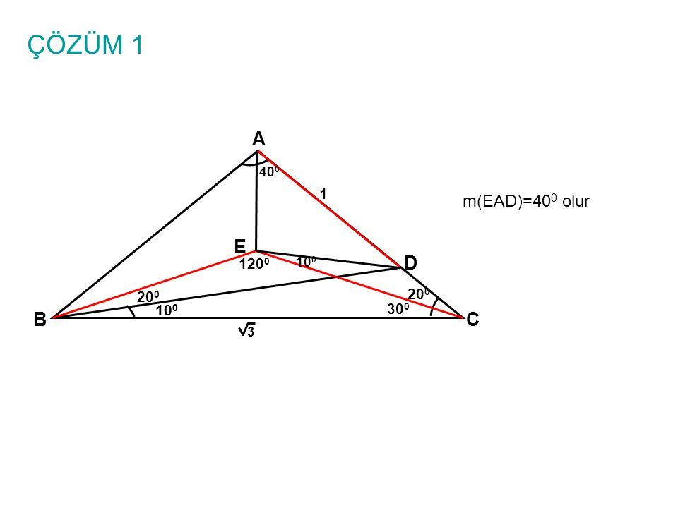 ÇÖZÜM 1 A BC 10 0 1 3 D E m(ADE)=m(EDB)=30 0 yani DE açıortaydır.