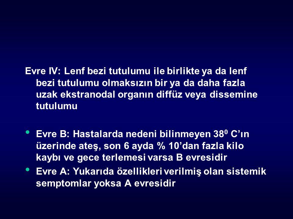 Evre IV: Lenf bezi tutulumu ile birlikte ya da lenf bezi tutulumu olmaksızın bir ya da daha fazla uzak ekstranodal organın diffüz veya dissemine tutul