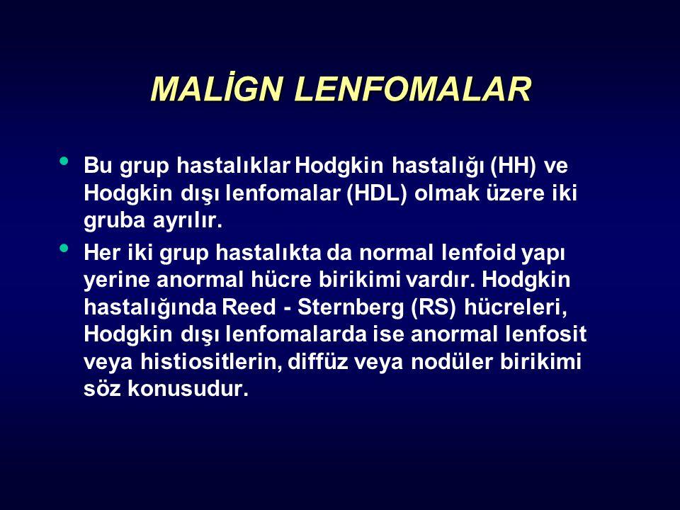 Bu grup hastalıklar Hodgkin hastalığı (HH) ve Hodgkin dışı lenfomalar (HDL) olmak üzere iki gruba ayrılır. Her iki grup hastalıkta da normal lenfoid y