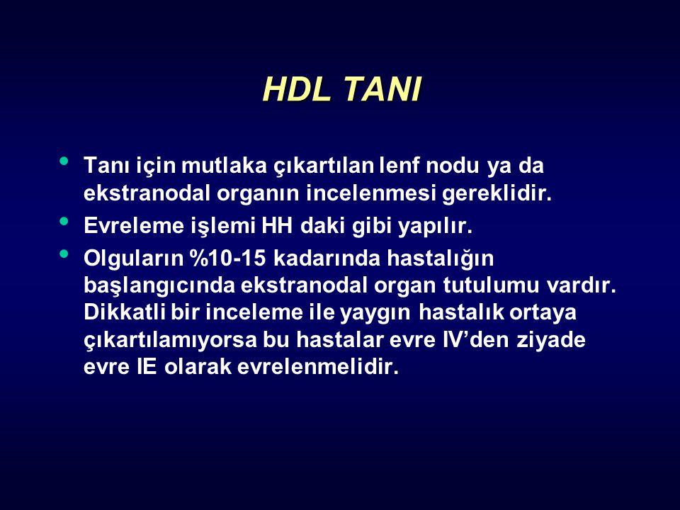 HDL TANI Tanı için mutlaka çıkartılan lenf nodu ya da ekstranodal organın incelenmesi gereklidir. Evreleme işlemi HH daki gibi yapılır. Olguların %10-
