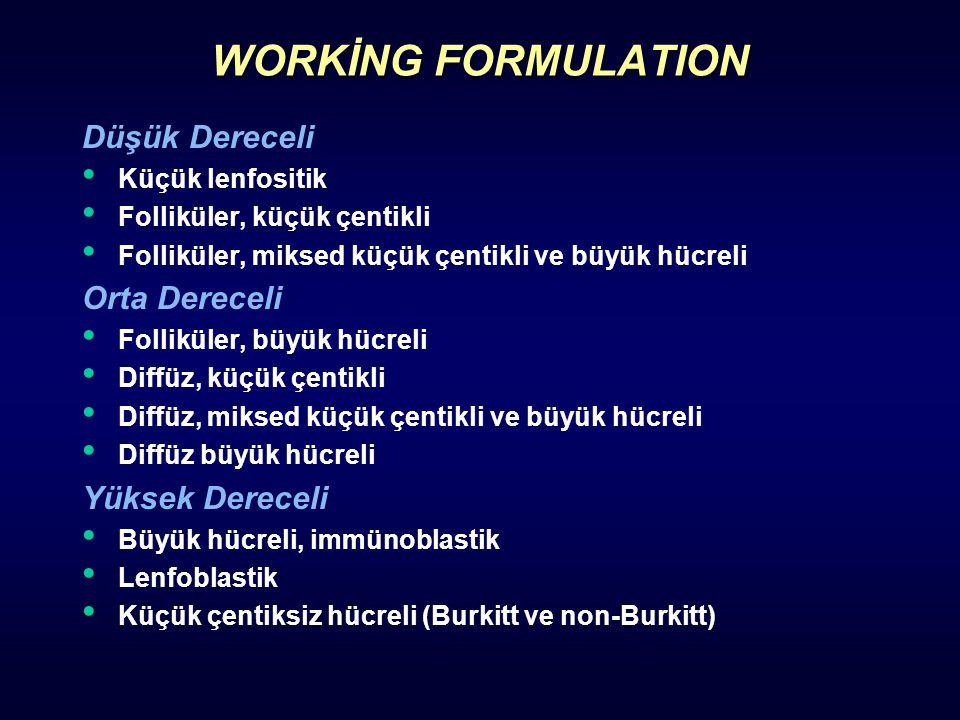 WORKİNG FORMULATION Düşük Dereceli Küçük lenfositik Folliküler, küçük çentikli Folliküler, miksed küçük çentikli ve büyük hücreli Orta Dereceli Follik