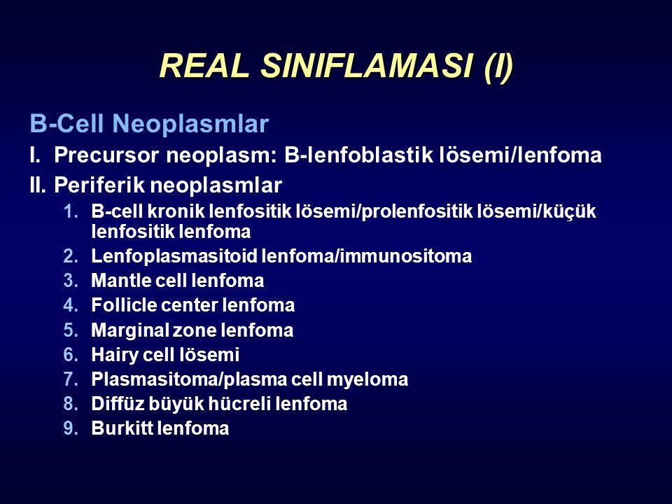 REAL SINIFLAMASI (I) B-Cell Neoplasmlar I. Precursor neoplasm: B-lenfoblastik lösemi/lenfoma II. Periferik neoplasmlar 1.B-cell kronik lenfositik löse