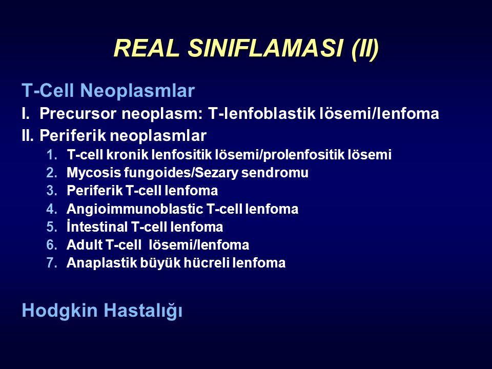 REAL SINIFLAMASI (II) T-Cell Neoplasmlar I. Precursor neoplasm: T-lenfoblastik lösemi/lenfoma II. Periferik neoplasmlar 1.T-cell kronik lenfositik lös