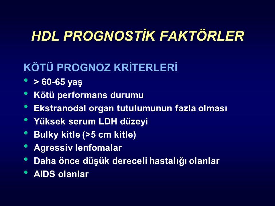 HDL PROGNOSTİK FAKTÖRLER KÖTÜ PROGNOZ KRİTERLERİ > 60-65 yaş Kötü performans durumu Ekstranodal organ tutulumunun fazla olması Yüksek serum LDH düzeyi