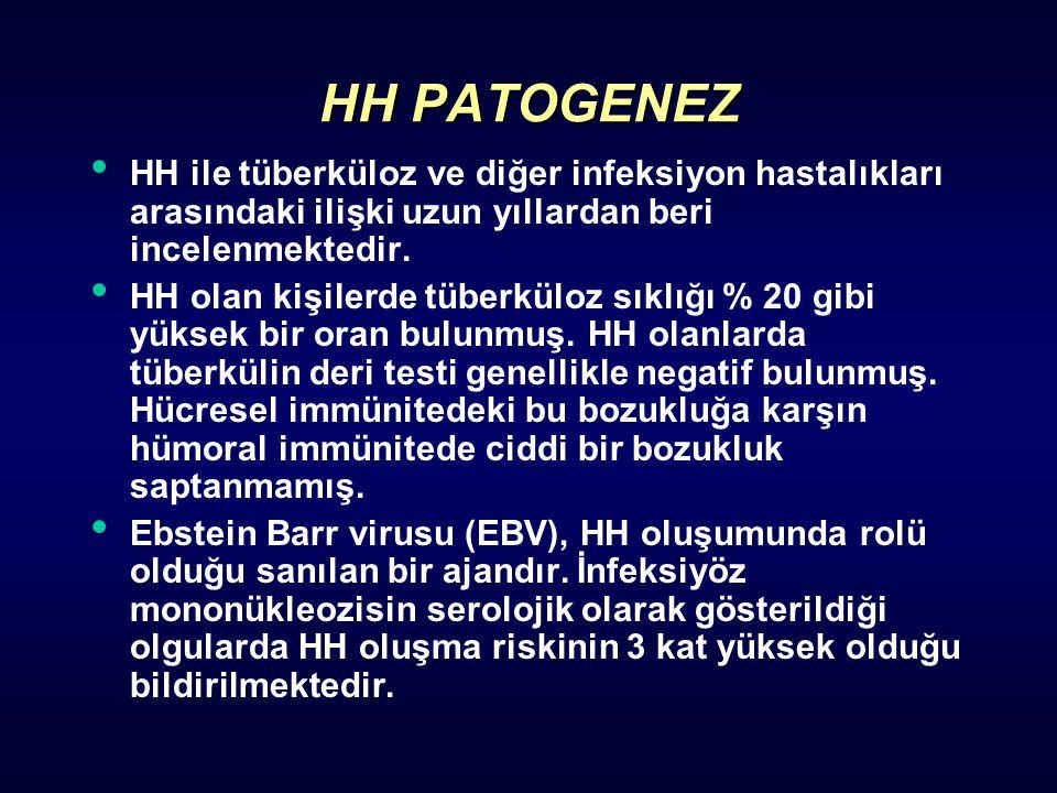 HH PATOGENEZ HH ile tüberküloz ve diğer infeksiyon hastalıkları arasındaki ilişki uzun yıllardan beri incelenmektedir. HH olan kişilerde tüberküloz sı