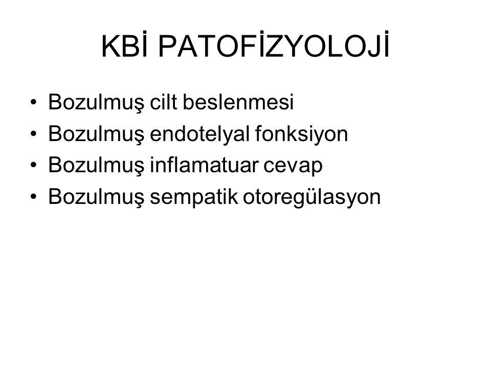 KBİ PATOFİZYOLOJİ Bozulmuş cilt beslenmesi Bozulmuş endotelyal fonksiyon Bozulmuş inflamatuar cevap Bozulmuş sempatik otoregülasyon
