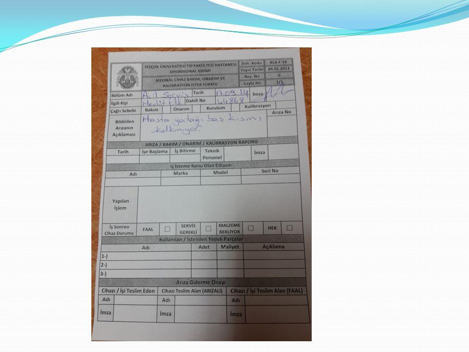 2014 YILI KALİBRASYONU YAPILAN CİHAZLAR Elektrokoter Traksiyon Defibrilatör Kuvöz Fototerapi Ekg Nst Hastabaşı Monitörü