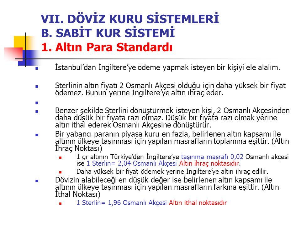 VII. DÖVİZ KURU SİSTEMLERİ B. SABİT KUR SİSTEMİ 1. Altın Para Standardı İstanbul'dan İngiltere'ye ödeme yapmak isteyen bir kişiyi ele alalım. Sterlini