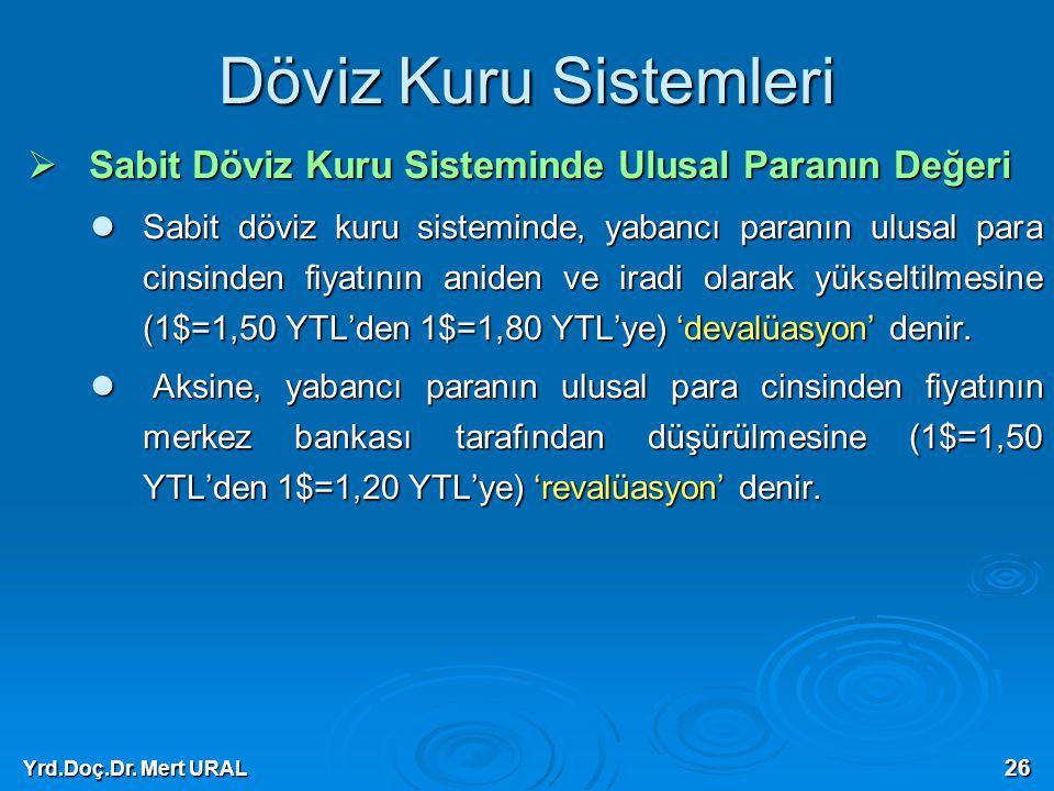 Yrd.Doç.Dr. Mert URAL 26 Döviz Kuru Sistemleri  Sabit Döviz Kuru Sisteminde Ulusal Paranın Değeri Sabit döviz kuru sisteminde, yabancı paranın ulusal