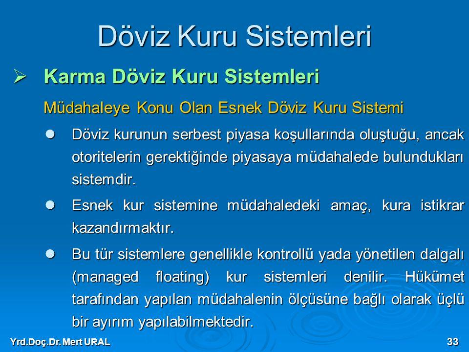 Yrd.Doç.Dr. Mert URAL 33 Döviz Kuru Sistemleri  Karma Döviz Kuru Sistemleri Müdahaleye Konu Olan Esnek Döviz Kuru Sistemi Döviz kurunun serbest piyas