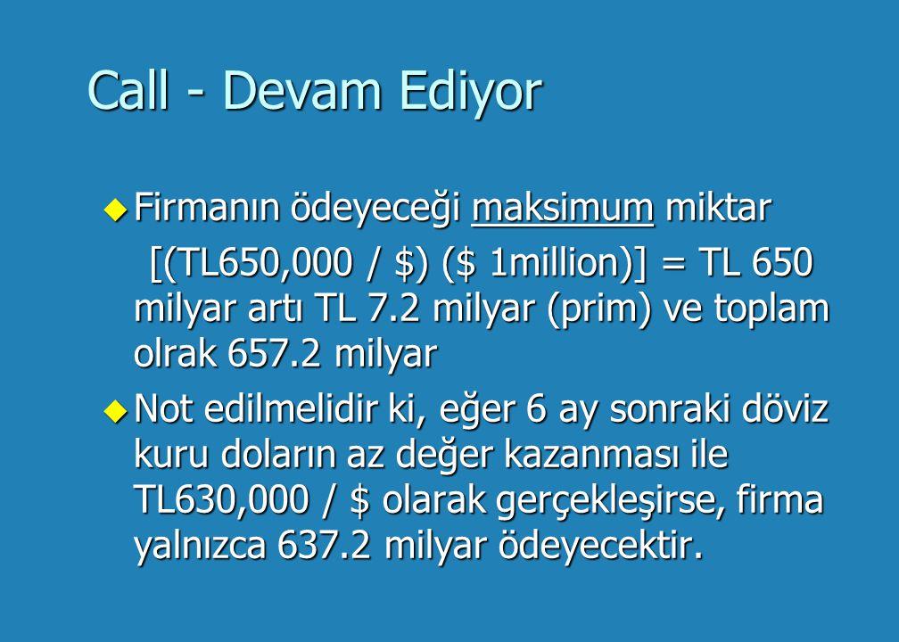Alternatifler - Devam Ediyor u Call opsiyonu (bu durumda $ satın alma hakkı) vBugün prim maliyeti: [$ 1million) (.01) (TL600,000 / $)] = TL 6 milyar vYukarıdaki aynı varsayım ile %20'luk faiz oranını kullanarak, ödenen primin gelecek değeri: [( TL 6 milyar) (1.2)] = TL 7.2 milyar [( TL 6 milyar) (1.2)] = TL 7.2 milyar