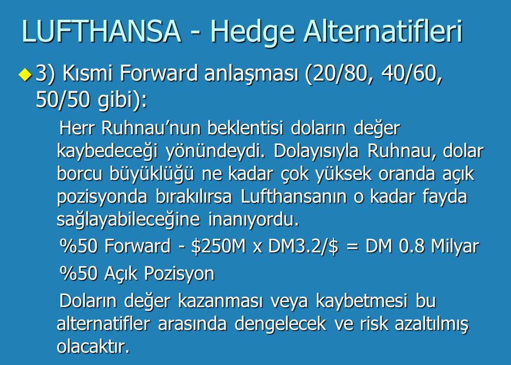 LUFTHANSA - Hedge Alternatifleri u 2) Ful Forward anlaşması: Eğer Lufthansa çok yüksek bir riskten kaçınma derecesine sahip olsaydı ve döviz kur riskini tam olarak hedge etmek isteseydi, $500M tümünü ilgilendirecek doların satın alımı için forward anlaşması alabilirdi.