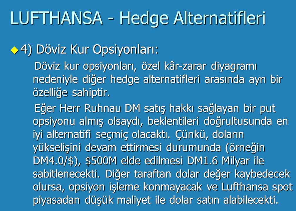 LUFTHANSA - Hedge Alternatifleri u 3) Kısmi Forward anlaşması (20/80, 40/60, 50/50 gibi): Herr Ruhnau'nun beklentisi doların değer kaybedeceği yönündeydi.
