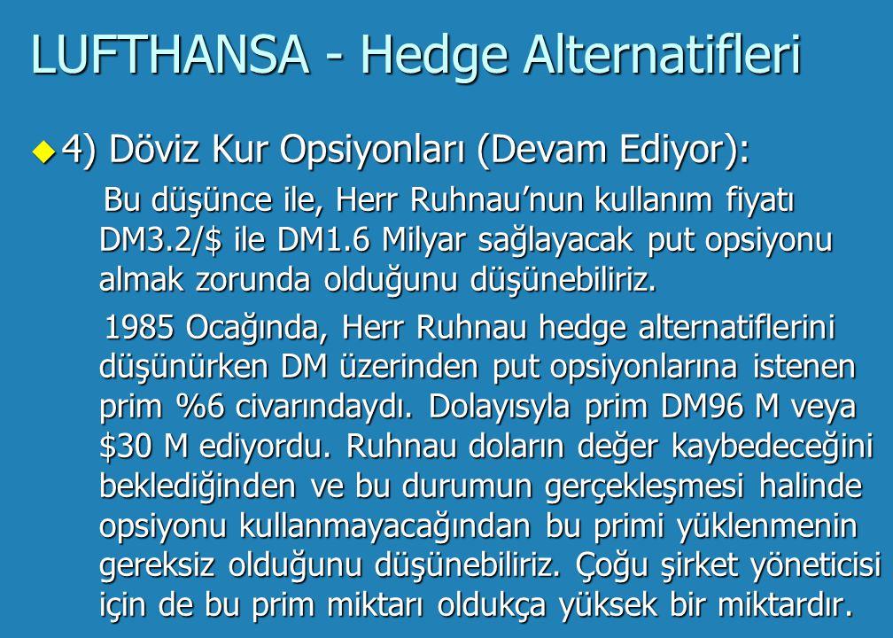 LUFTHANSA - Hedge Alternatifleri u 4) Döviz Kur Opsiyonları: Döviz kur opsiyonları, özel kâr-zarar diyagramı nedeniyle diğer hedge alternatifleri arasında ayrı bir özelliğe sahiptir.