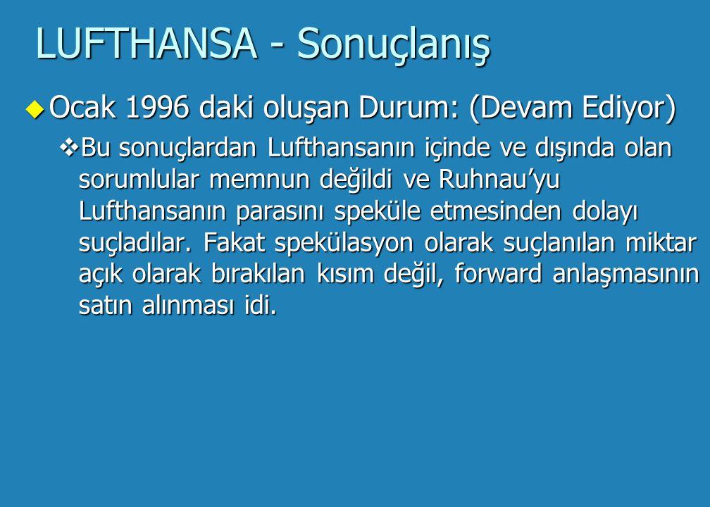 LUFTHANSA - Sonuçlanış u Ocak 1996 daki oluşan Durum: (Devam Ediyor) Kur Toplam DM Maliyet 1.