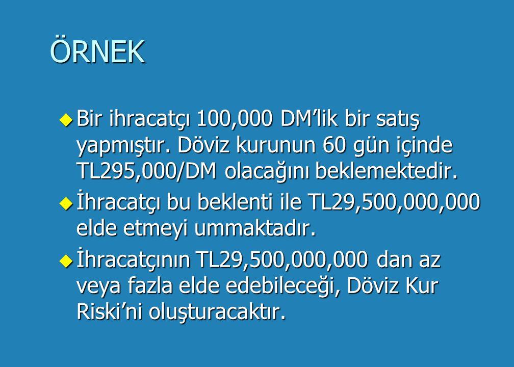 ÖRNEK u Bir ihracatçı 100,000 DM'lik bir satış yapmıştır.