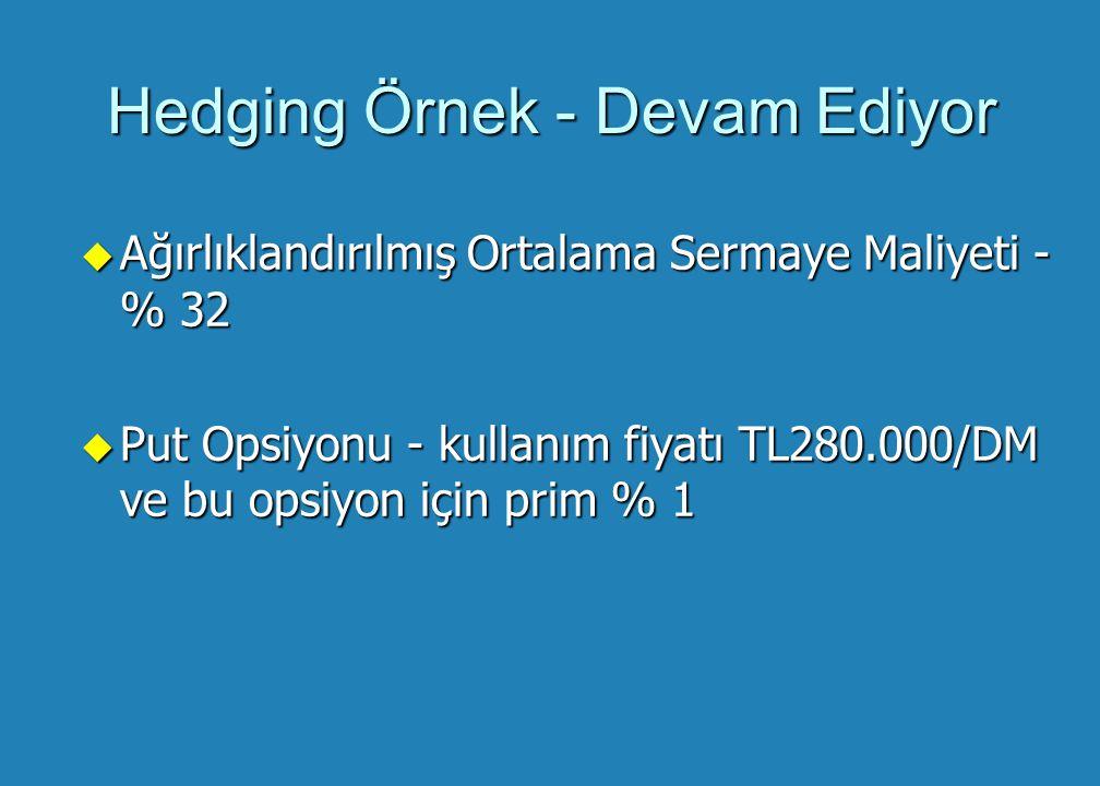 Hedging Örnek - Devam Ediyor u Ağırlıklandırılmış Ortalama Sermaye Maliyeti - % 32 u Put Opsiyonu - kullanım fiyatı TL280.000/DM ve bu opsiyon için prim % 1