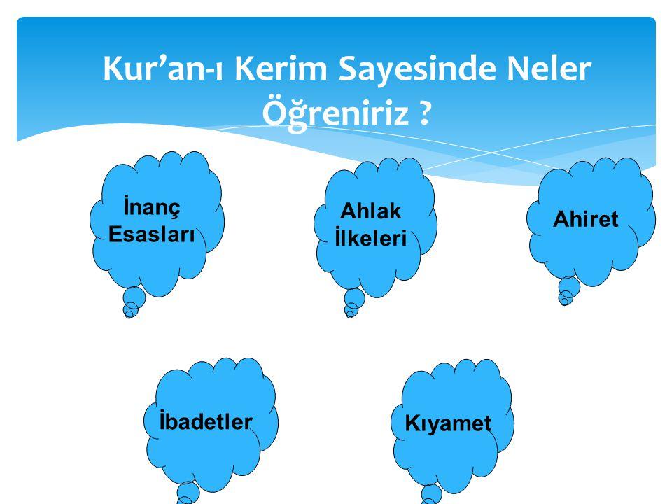 Kur'an-ı Kerim Sayesinde Neler Öğreniriz ? İnanç Esasları Ahlak İlkeleri İbadetler Ahiret Kıyamet