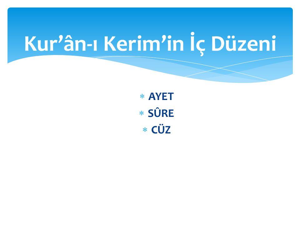 AYET Kur'ân-ı Kerim'de 6236 ayet vardır.Ayetlere Kur'ân-ı Kerim'in cümleleri de diyebiliriz.