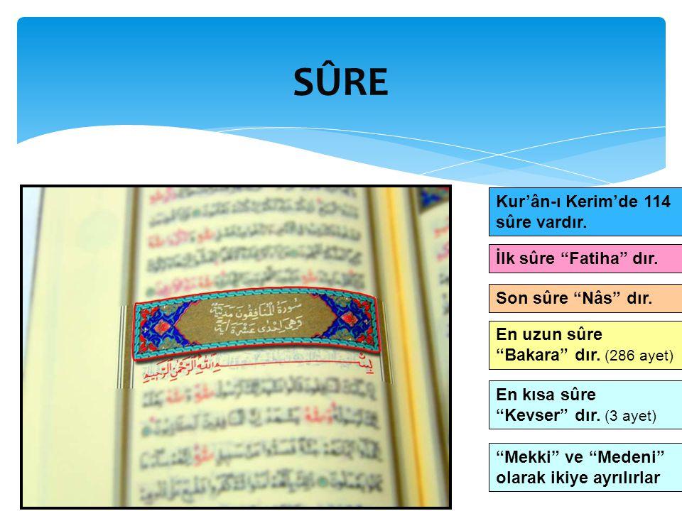 """SÛRE Kur'ân-ı Kerim'de 114 sûre vardır. İlk sûre """"Fatiha"""" dır. Son sûre """"Nâs"""" dır. En uzun sûre """"Bakara"""" dır. (286 ayet) En kısa sûre """"Kevser"""" dır. (3"""