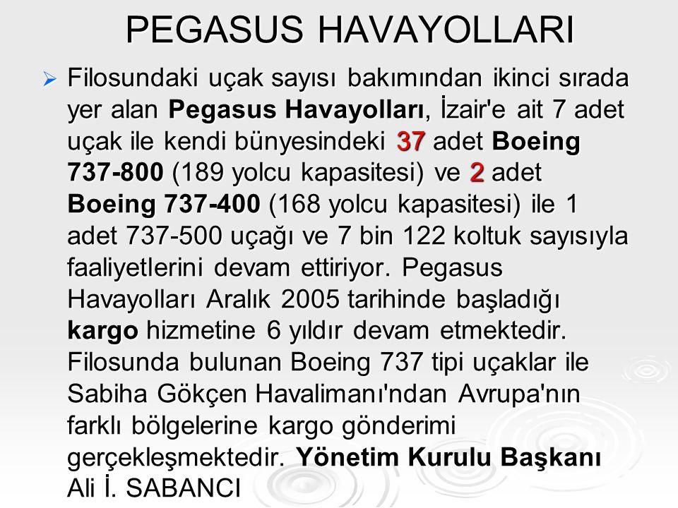 PEGASUS HAVAYOLLARI FFFFilosundaki uçak sayısı bakımından ikinci sırada yer alan Pegasus Havayolları, İzair'e ait 7 adet uçak ile kendi bünyesinde