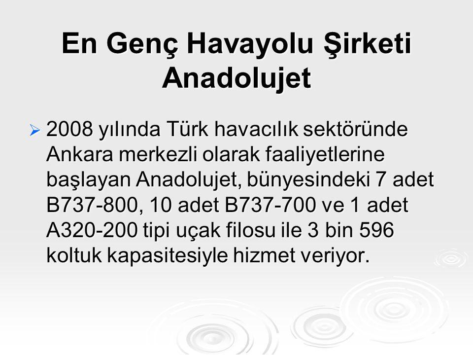 En Genç Havayolu Şirketi Anadolujet  2008 yılında Türk havacılık sektöründe Ankara merkezli olarak faaliyetlerine başlayan Anadolujet, bünyesindeki 7
