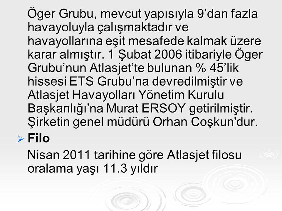 Öger Grubu, mevcut yapısıyla 9'dan fazla havayoluyla çalışmaktadır ve havayollarına eşit mesafede kalmak üzere karar almıştır. 1 Şubat 2006 itibariyle