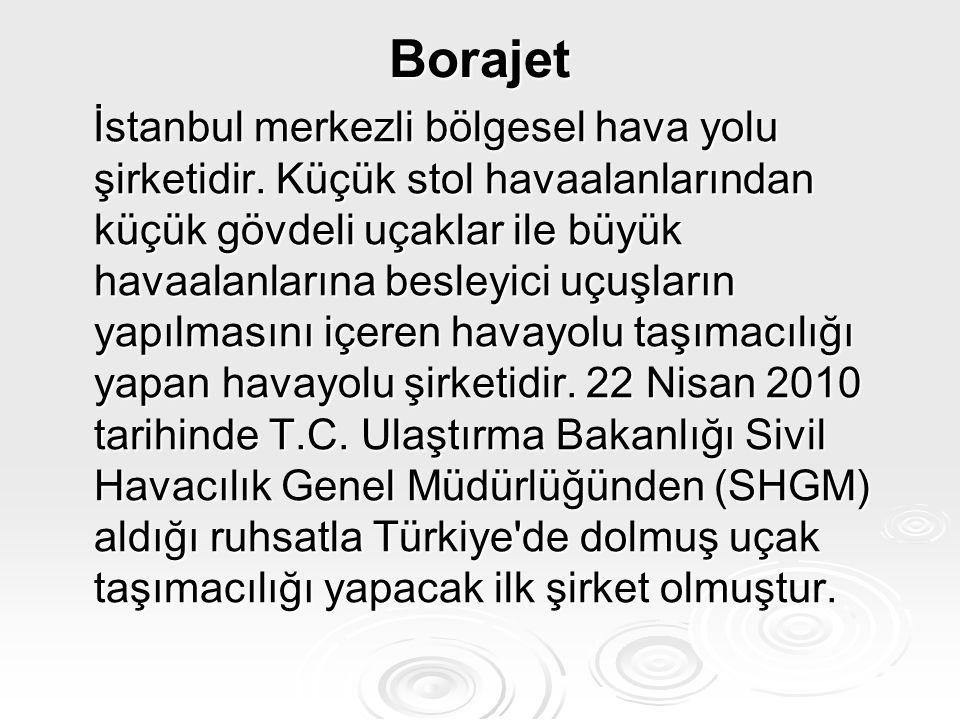 Borajet İstanbul merkezli bölgesel hava yolu şirketidir. Küçük stol havaalanlarından küçük gövdeli uçaklar ile büyük havaalanlarına besleyici uçuşları