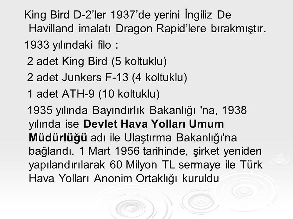 King Bird D-2'ler 1937'de yerini İngiliz De Havilland imalatı Dragon Rapid'lere bırakmıştır. King Bird D-2'ler 1937'de yerini İngiliz De Havilland ima